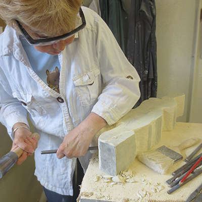 Sheila-working during stone carving class