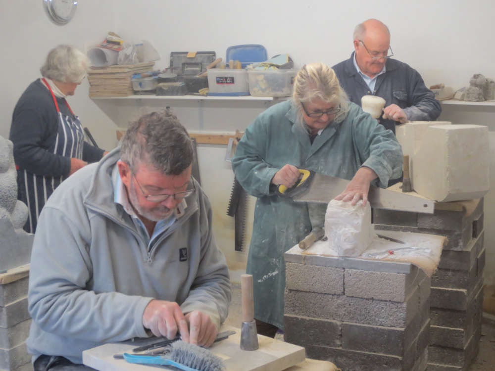 class in progress-stone carving course-south west