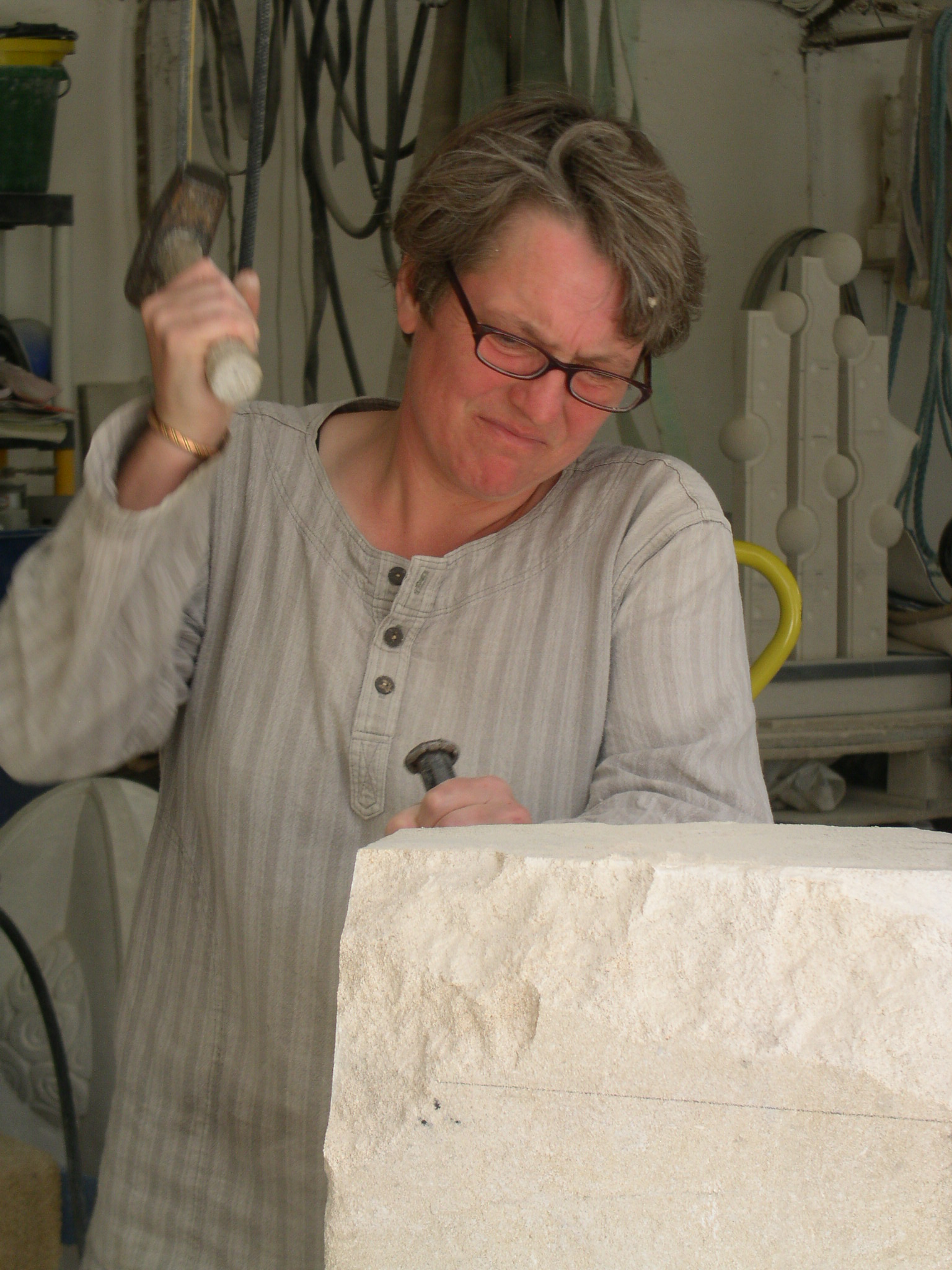 Carving a large piece of Bath stone